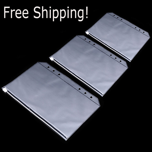 best selling A5 A6 A7 PVC 6 Hole Binder Loose-Leaf Notebook Waterproof Zipper Bag Business Card Bags Kids Learning Storage Bag School Office Supplies