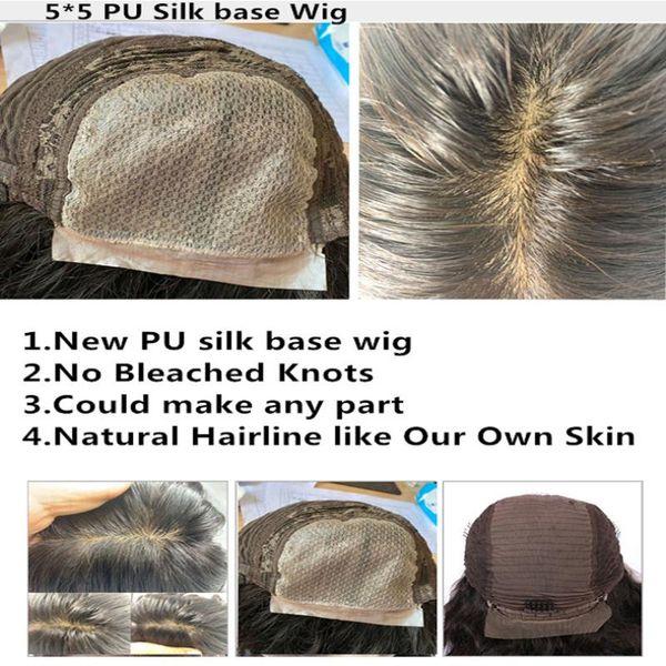 5x5 PU peruca base de seda