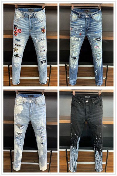 top popular 2019 New Arrival Top Quality Brand Designer Men Denim Jeans Embroidery Pants Fashion Holes Trousers US Size 28-38 2021