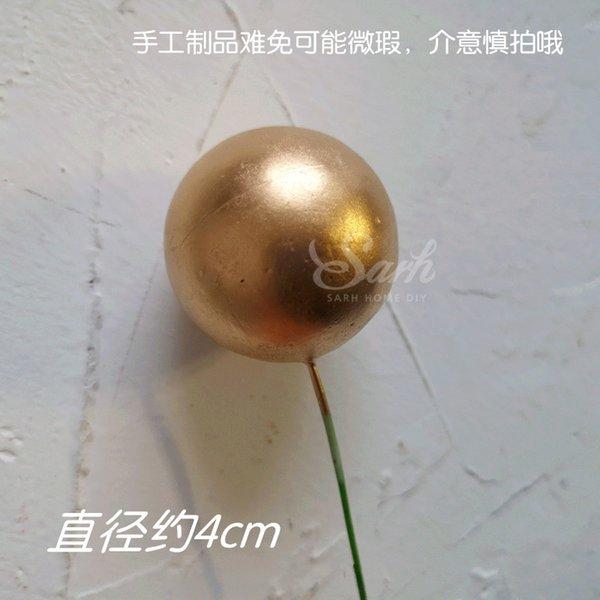 5pc 4cm золотые шары