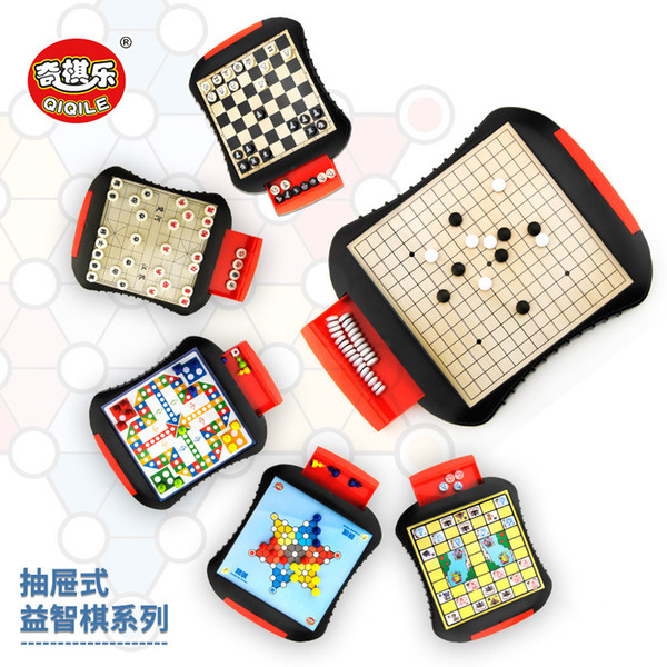 top popular Board Games High Quality Drawer style Chess Magnetic Mini Portable ABS Plastic Chess Set Board Games Children Gift 2021