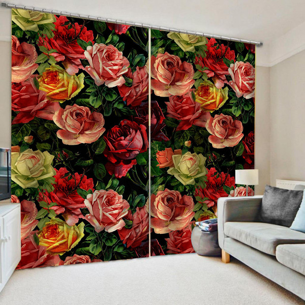top popular Luxury Blackout 3D Window Curtains For Living Room Bedroom Morden flower curtains 3d stereoscopic curtains 2021
