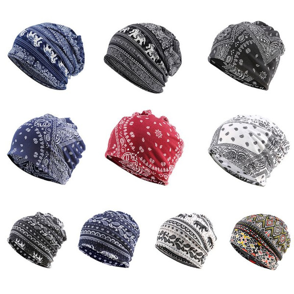 multifunction beanie skullies hat ethnic paisley digital print slouchy turban headwear chemo cap infinity scarf