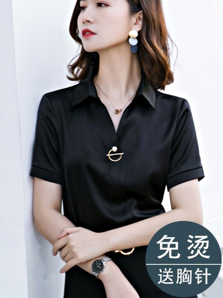 Одноместный рубашка с коротким рукавом черный