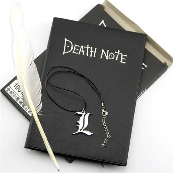 top popular A5 Anime Death Note Notebook Set Leather Journal and Necklace Feather Pen Journal Death Note Pad for Gift D40 C0924 2021