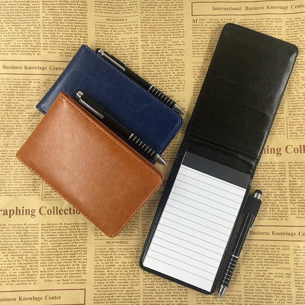 best selling RuiZe Multifunction small notebook A7 planner leather pocket notebook mini note book with pen business office notepad stationery C0924