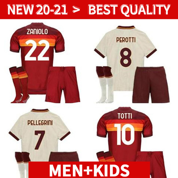 20 21 rome SOCCER Jerseys adult kids KIT TOTTI DE ROSSI roma home away DZEKO 2020 2021 football soccer Jerseys SET with socks