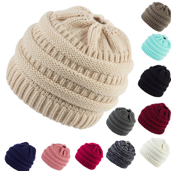 top popular Winter Ponytail Beanie 36 Colors Hole Tail Messy Soft Bun Knitted Cap Skull Stretchy Winter Warm Stretchy Knit Hats OOA8500 2021