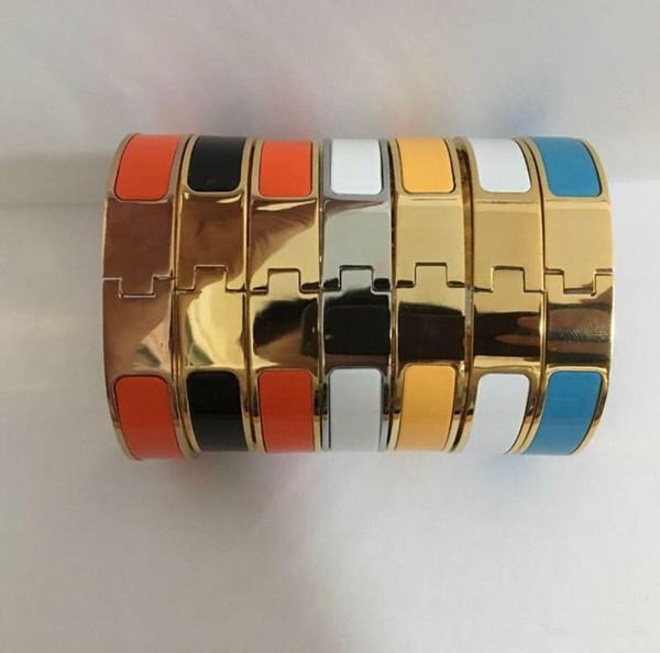 top popular Fashion Stainless Steel Bangle Women Men Enamel Bangles Jewelry Rose Gold Silver H Letter Bracelets Love Bangle with Original velvet bag 2021