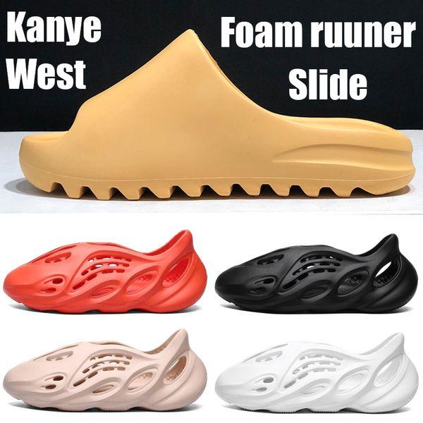 best selling Fashion With box Kanye West Slider bone resin desert sand core earth brown men women sandals triple black orange Ararat Platform shoes