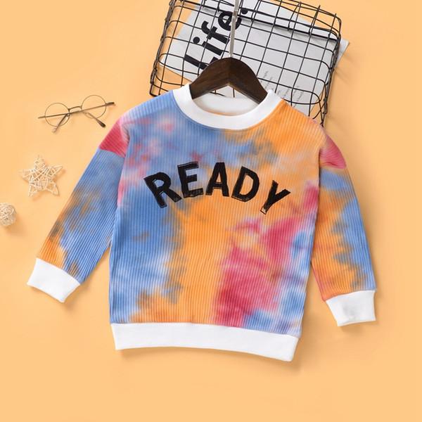 top popular Kids Tye-Dye Long Sleeves Tops Fall 2020 Kids Boutique Clothing Little Boys Girls Fashion T-Shirts Stylish Children Clothes 2021