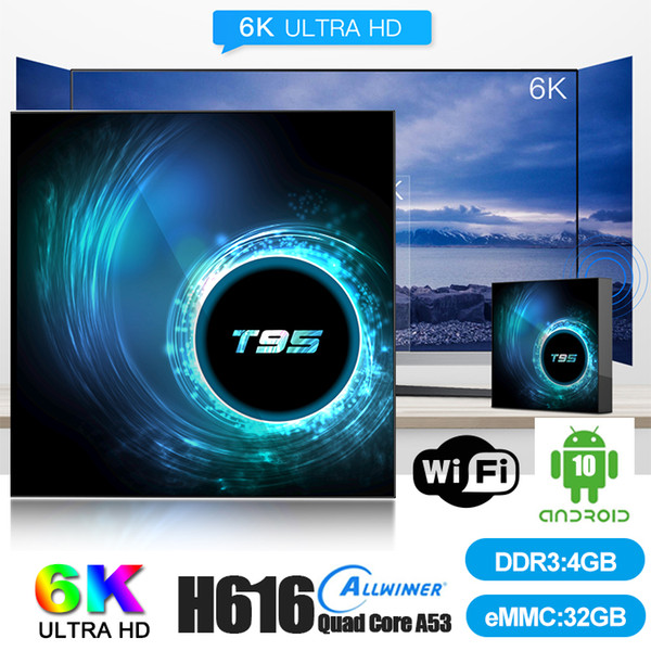 top popular 1 Piece! T95 Android 10.0 TV Box H616 Quad Core 4GB+32GB Support 2.4G Wifi 6K Caja de tv android TX3 H96 2020