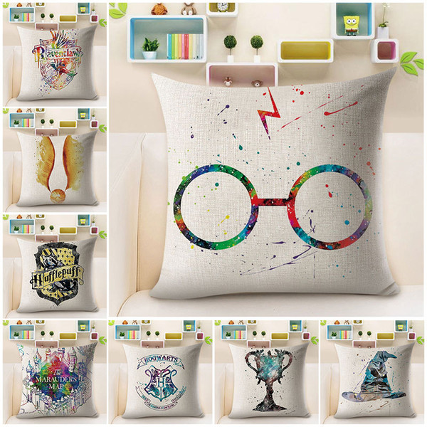 best selling Harry Potter Cushion Cover Watercolor Painting Sorting Hat the Goblet of Fire Art Cushion Covers Sofa Decorative Linen Cotton Pillow Case