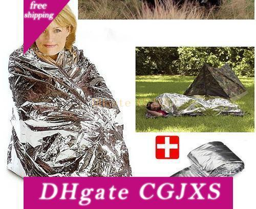 top popular 2 -Side Silver Emergency Rescue Blanket Silvery Silver Mylar Waterproof Emergency Rescue Space Foil Thermal Blankets 130cm X 210cm 30pc  Lot 2020