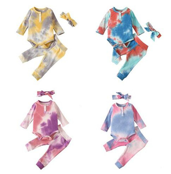 best selling Baby tie-dyed Autumn Kids Clothes Article Pit Tie Dyed Clothing Sets 8 Styles Baby Long Sleeve Romper Top+Pants+Headbands 3pcs set Outfits