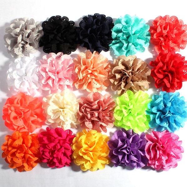 top popular 6cm Fashion rippled Wavy Artificial chiffon Fabric Flowers For Hair Headband Wedding Decoration DIY Decorative Wreath 2021