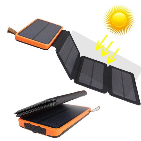 best selling 8W Waterproof solar power bank 20000mah High efficiency folding solar panel universal battery charger with LED Camping lamp for charging