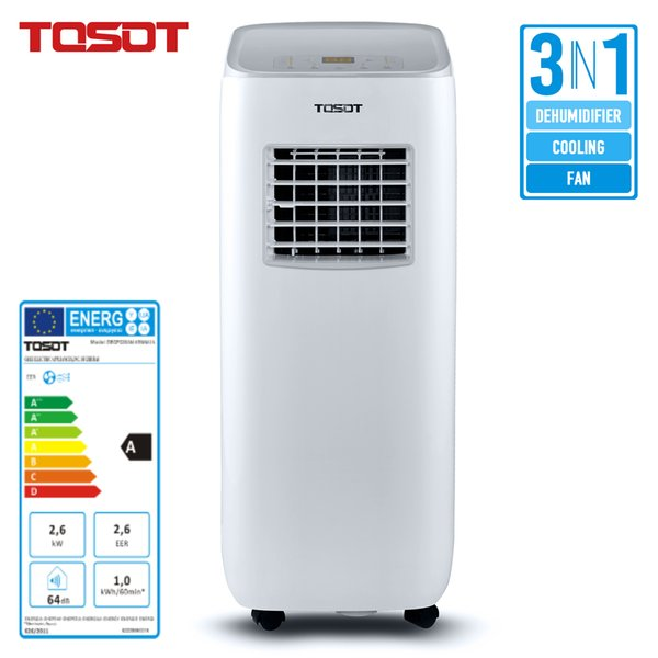 top popular TOSOT Mobile Air Conditioner for Basement Room Bedroom 3 in 1 Cooling Dehumidifier Fan Remote Control Timer White 2020