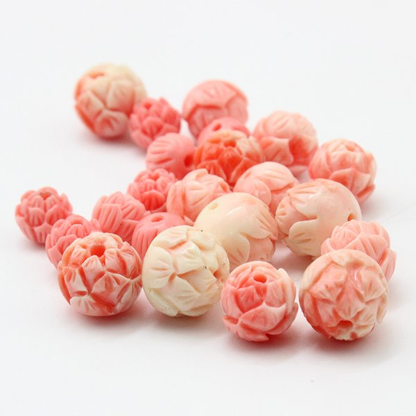 best selling 10pcs lot 8mm 10mm 12mm Pink Coral Round Lotus Beads Fit Bracelet Necklace Loose Spacer Coral Beads For Jewelry Making DIY