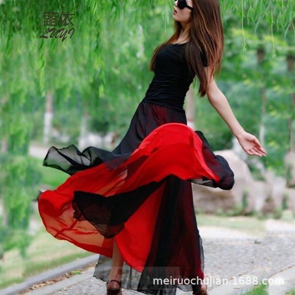 Vestito Nero Media chiffon rosso