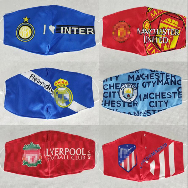 best selling wholesale 14 style Football Printed Washable Madrid Soccer Mask Family protection products 2021 Paris masks A time of celebration removable