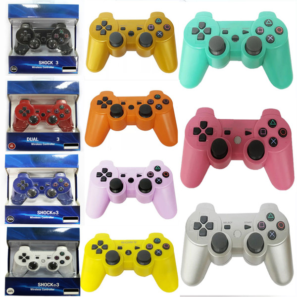 top popular Drop ship! Dualshock 3 Wireless Bluetooth Controller for PS3 Vibration Joystick Gamepad Game Controllers With Retail Box free ship 2020