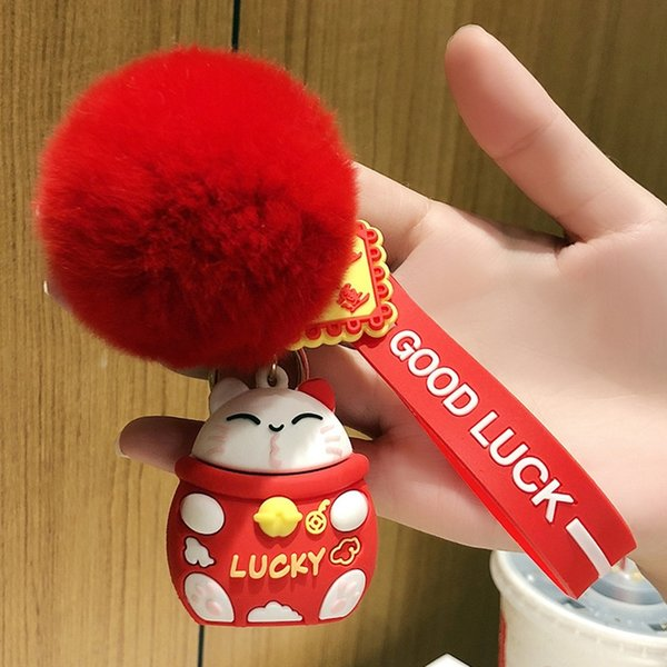 Red Lucky Cat + Fur Ball-Individual OppBag
