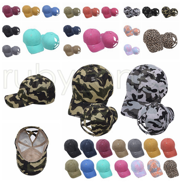 top popular Tie-dye Ponytail Hat Washed Leopard Camo Hollow Criss Cross Ponytail Messy Bun Baseball Cap Girls Trucker Hat Party Hats Supply RRA3514 2021