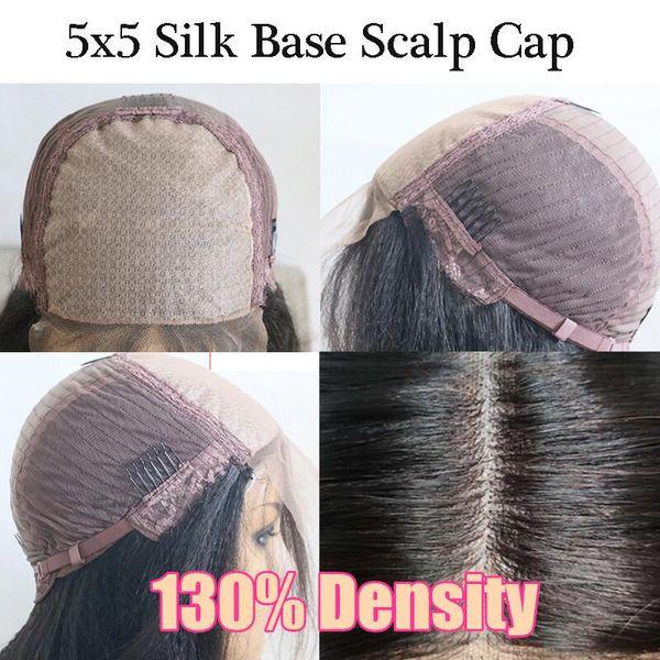 130Density 5x5 PU Seda base de la peluca