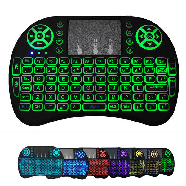 top popular Mini i8 Wireless Keyboard Backlight Backlit 2.4G Air Mouse Keyboard Remote Control Touchpad Rechargeable lithium battery for And 2021