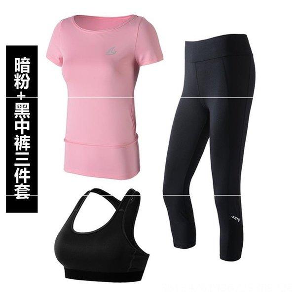 Rosa oscuro y pantalón negro de tres piezas de Se