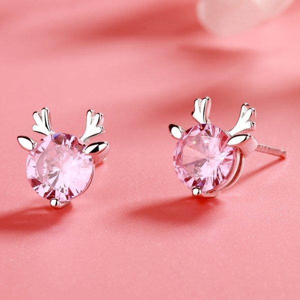 Pendientes cornamenta (rosa diamante) -925 Silve