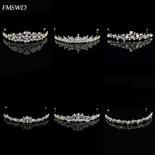 best selling New Vintage Handmade Rose Gold Silver Color Crystal Pearl Crown Small Tiara Princess For Wedding Bride Hair Accessories Jewelry