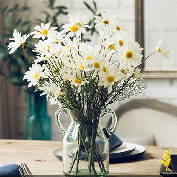 5 Heads/Branch Artificial Dasiy Flowers Silk Fake Flowers Decorative Stamen Small Daisy for Wedding Holding Flowers Home Decor