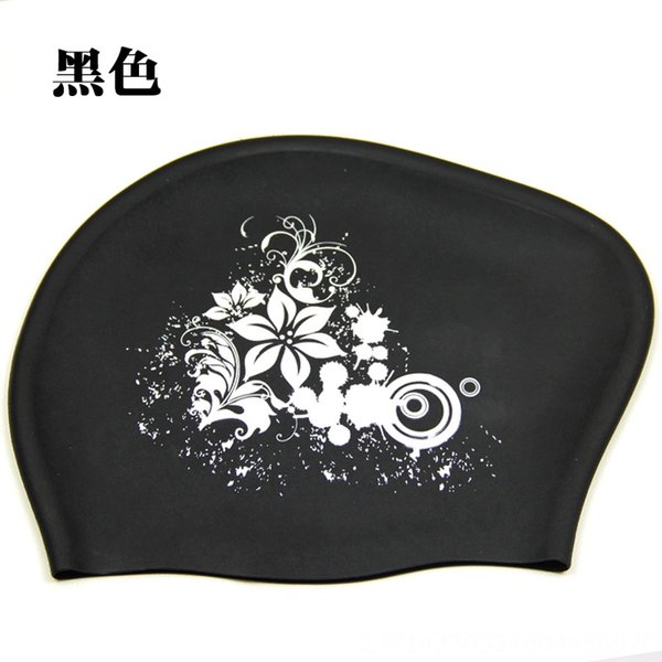 Black (silicone Flower Swimming Cap)
