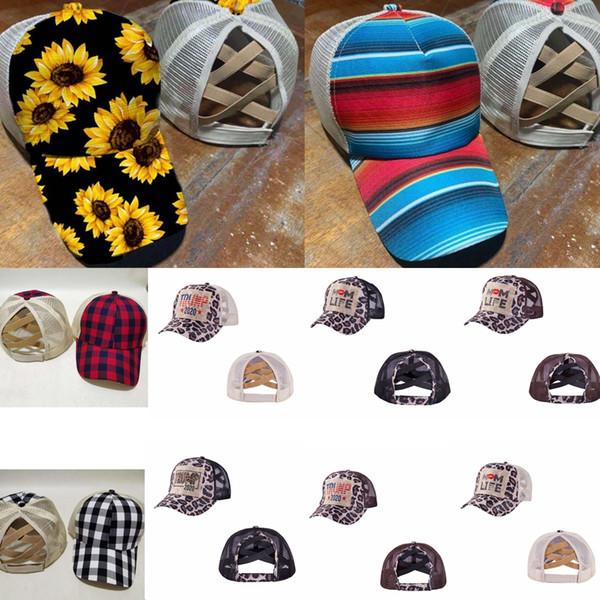 top popular Criss Cross High Ponytail Hat Washed Sunflower Baseball Cap Messy Buns Trucker Caps Plaid Leopard Hats Snapback Trump Mesh Hats GGA3580 2020