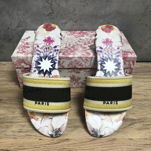 top popular Womens Paris Embroidered Floral Slippers Summer Beach Sandals Slide Ladies Flip Flops Slippers Comfort Beautiful Scuffs Slipper 2020