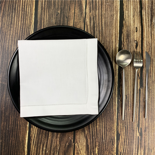 best selling Sef of 12 Home Textiles Table Napkin White 100% Linen Fabric Hemstitched Border Dinner Napkins For Special Occasions 18x18 20x20-inch