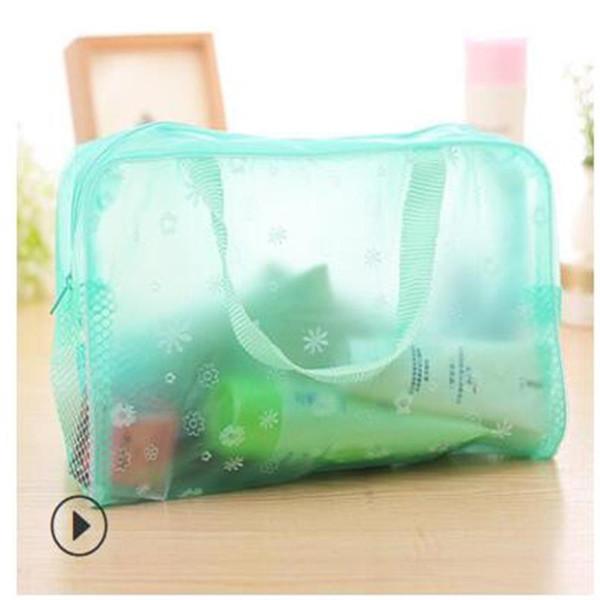 best selling Pastoral floral cosmetic bag wash bag transparent waterproof bath storage bath supplies storage bag