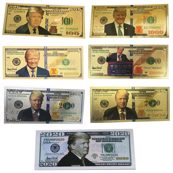 top popular Donald Trump Dollar US President Banknote Gold Foil Bills Commemorative Coin Crafts America General Election Supplies 7 Styles 2020