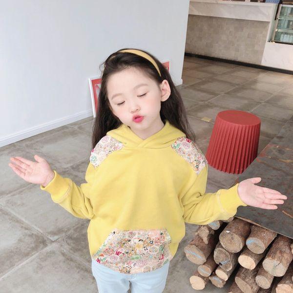 top popular Sweet Girls Hoodies Spring Autumn Children Flowers Long Sleeves Sweatshirts Kids Girl Hooded Long Sleeves Clothes trousers 2021