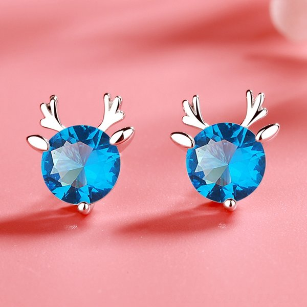 Pendientes cornamenta (azul Diamante) -925 Silve