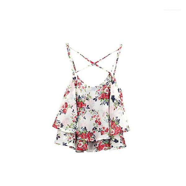 best selling Unerwear Sexy Camisole Floral Tanks Womens Designer O Neck Vest Womens Summer Female Casual Contrast Color