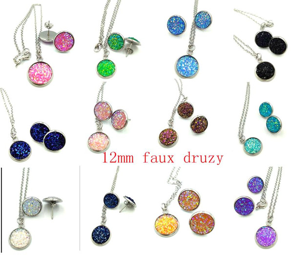 best selling New style Hot selling fashion druzy drusy pendant jewelry set Mujer pendientes druzy earring and necklace set