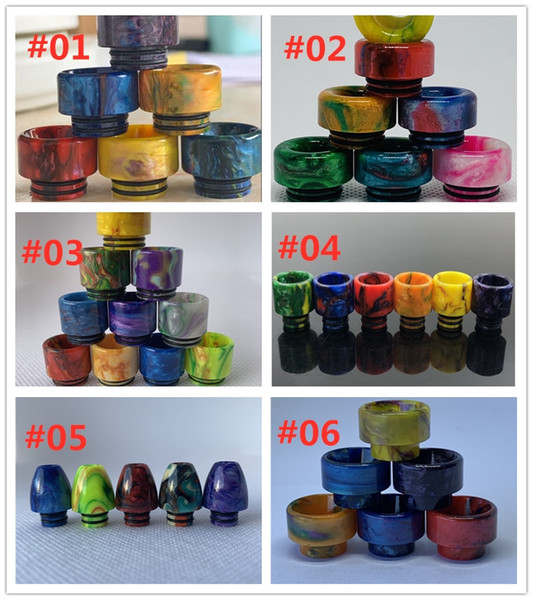 best selling 6 Types Colorful Short Wide Bore Resin Bullet 810 510 528 Drip Tips Mouthpiece for TFV8 TFV12 Big Baby