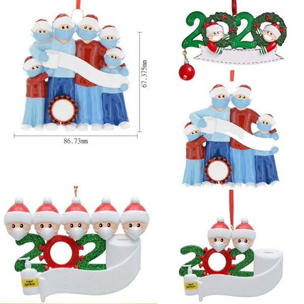 top popular PVC Christmas Ornament DIY Greetings 2020 Quarantine Christmas Birthday Party Pandemic Social Distancing Christmas Tree Pendant Accessories 2020