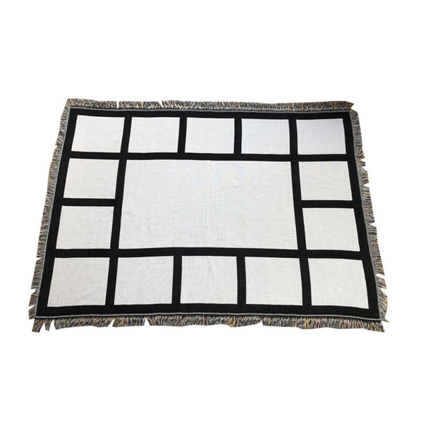 top popular Sublimation Panles Blanket 9 15 Panel Thermal Transfer Printing Rug with Tassels 1.25*1.5m Flannel Sofa Cover A02 2021