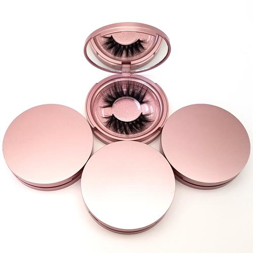 Rose Gold Circle Plastic Box with Mirror