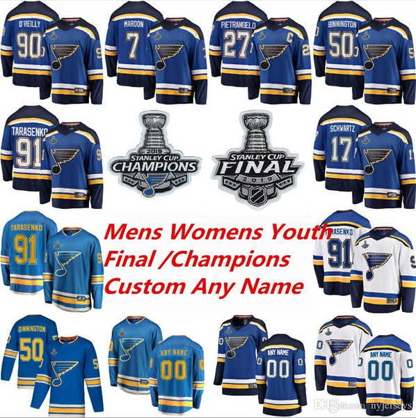 top popular 2019 Stanley Cup Final St Louis Blues Hockey Jerseys Vladimir Tarasenko Jersey Alex Pietrangelo Jake Allen Colton Parayko Binnington Custom 2020