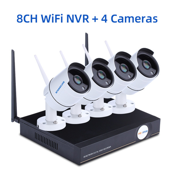 Nenhum EU Plug 8CH NVR e 4 Camera